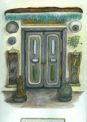 Das Planarchiv - Der Zugang, 1994, 35 x 30 cm, Aquarell auf Papier