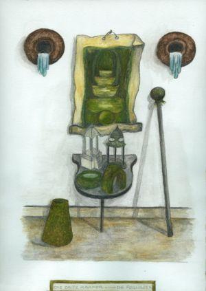 Das Planarchiv - Die Requisiten, 1994, 35 x 30 cm, Aquarell auf Papier